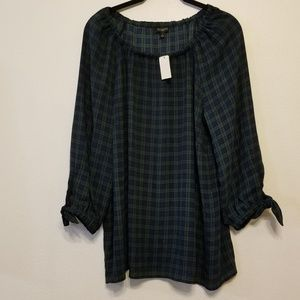Talbots plaid smocked popover top with tie sleeves